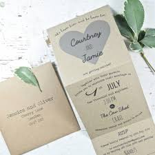 tri fold wedding invitations recycled heart tri folded wedding invitation by paper and inc