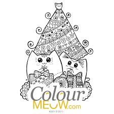 cat colouring page u2013 christmas yoko cats with gifts u2013 design 0001