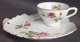 bond china pompadour pompadour gold trim snack plate cup set by lipper mann l