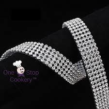 bling ribbon 9 metres of 5 row 25mm clear silver diamante effect ribbon
