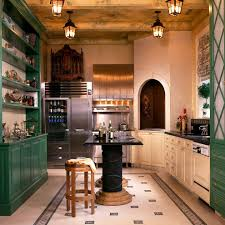 green and white kitchen kitchen eclectic with tile floor