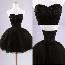 2015 little black prom dress short black ball gown sweetheart