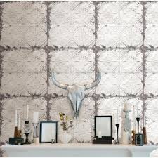 peel and stick wallpaper tiles nuwallpaper white and off white vintage tin tile peel and stick