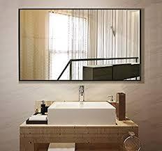 black bathroom mirrors amazon com large rectangular bathroom mirror wall mounted framed