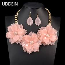 pink flower collar necklace images Uddein 2017 pink color flower necklace women party jewelry crystal jpg