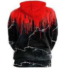 3d halloween hoodie ink splatter bloody skull flower pullover for