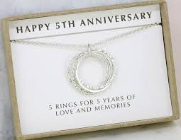 5th year anniversary gift 5th anniversary gift 5 year anniversary necklace gift for