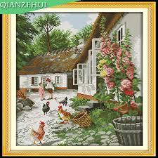 aliexpress buy qianzehui needlework diy farmyard flowers