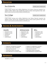 human resources curriculum vitae template black n orange curriculum vitae template for powerpoint