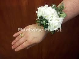 White Wrist Corsage 3c Artificial Silk Triple White Roses Wrist Corsage On Diamante