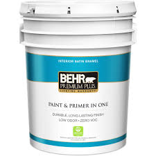behr premium plus 5 gal satin enamel interior paint 705005 the