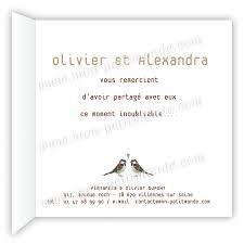 remerciement mariage original carte de remerciements mariage duo de moineaux mon petitmonde