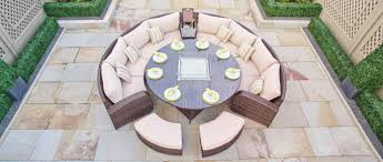 Half Moon Sofa Tables by Arc 14 Half Moon Rattan Sofa Set With Gas Firepit Dining Table