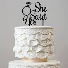 ring cake topper she said yes wedding cake topper diamond ring engagement bridal