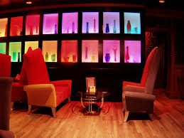 led lighting interiors with red shade for cafe bar area part of