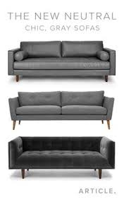 gray sofa tufted button back solid wood legs article anton