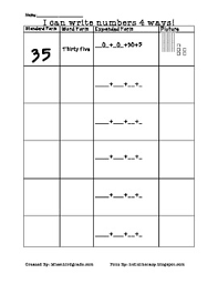 word form expanded form standard form picture form place value