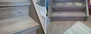 vinyl plank on stairs with our special nosing