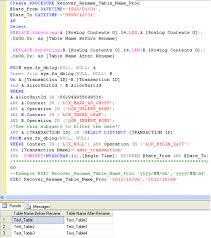 Sql Change Table Name Sql Server How To Recover The Renamed Table Sql Server Portal