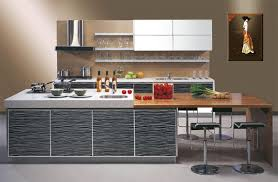small modern open kitchen design with white cabinet including
