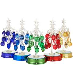 kringle express set of 5 lit glass trees w ornaments gift boxes