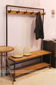 nordic american country industrial pipes iron coat rack floor