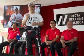 toyota global toyota global president akio pedals a turbo 86 rally car before