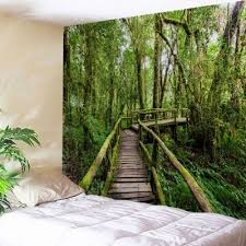 wall hanging art forest wooden bridge print tapestry w59 inch