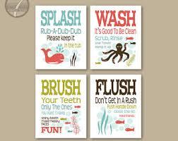 Diy Kids Bathroom - childrens kids bathroom art prints set of 4 8 x