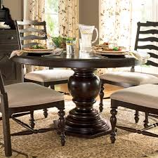 Pedestal Kitchen Table by Dark Espresso Wood Round Pedestal Dining Room Table On Leopard Rug