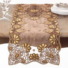hand beaded table runners saro floral hand beaded table runner gold 72 inches long x 16