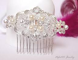 art deco bridal hair comb pearl wedding hair comb rhinestone