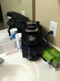 yes i keep a keurig in my bathroom the three under