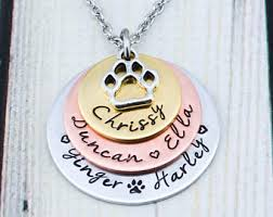 personalized paw print necklace paw print jewelry etsy