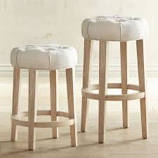 Wicker Kitchen Furniture Furniture Brown Round Leather Seat Backless Counter Stools For