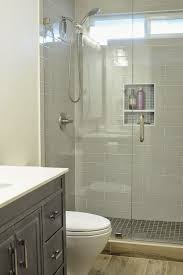 Small Bathroom Fixtures Walk In Shower Small Bathroom With Niche And Brushed Nickel