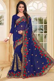 color designer buy blue color designer embroidered saree in georgette fabric
