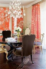 coral motif curtains with elegant dining room also round dark