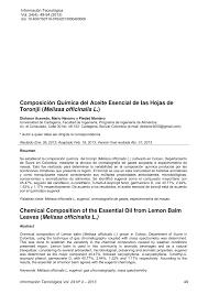 composición química del aceite esencial de las hojas de toronjil