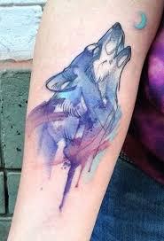 aga yadou watercolor wolf tattoo tattoos pinterest