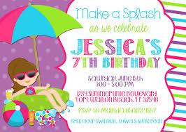 swimming pool 5x7 invitation birthday party printable