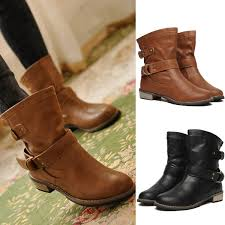 ladies brown biker boots 2015 women fashion martin short boots british driving vintage pu