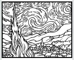 coloring page for van van gogh coloring pages van coloring pages van portrait coloring