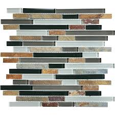 shop graphite linear mosaic stone and glass wall tile common 12