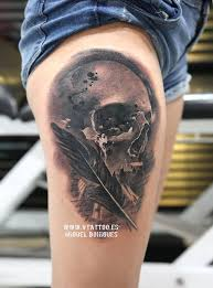 100 awesome skull designs feather tattoos designs