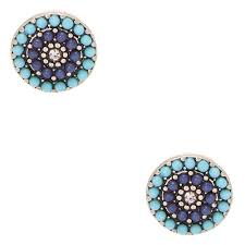 circle stud earrings shades of blue bead circle clip on stud earrings s