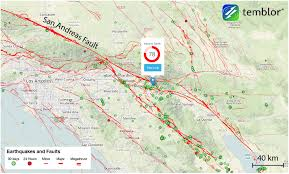 Fault Line Map Weekend Earthquakes Along The San Andreas Fault Mark Tips Of Great
