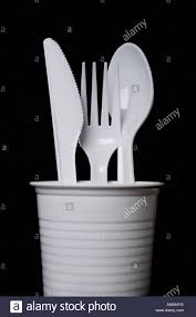 plastic cutlery plastic cutlery in a cup stock photo 15204099 alamy