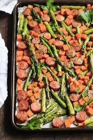 one pan sausage with sweet potato and asparagus primavera kitchen