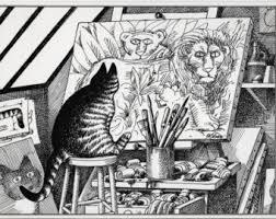 vintage kliban cat print cat black and white cat